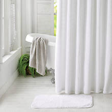Chenille Shower Curtain with Rug - White