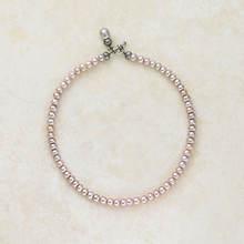 Button Pearl Necklace - Lavender