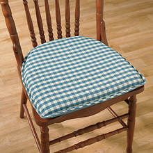 Gingham Chair Pad - Blue