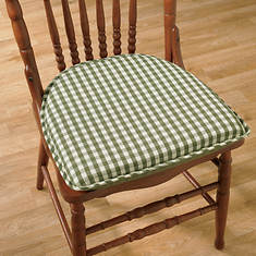 Gingham Chair Pad - Pine