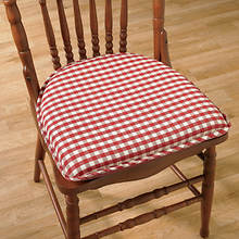 Gingham Chair Pad - Red