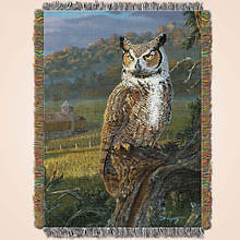 Animal Print Tapestry Throw - Owl