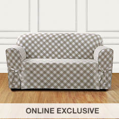 Buffalo Check Slipcover - Loveseat - Tan