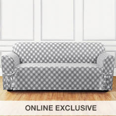 Buffalo Check Slipcover - Sofa - Grey