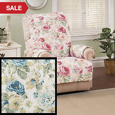 English Floral Furniture Protector - Recliner - Blue