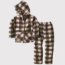Toddler Plaid Fleece Set - Pink