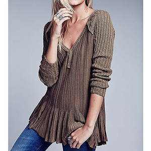 Free People Women's Ribs and Ruffles Sweater
