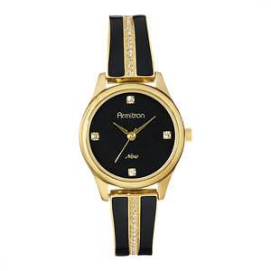 Armitron Swarovski Crystal Gold-Tone/Black Bangle Watch
