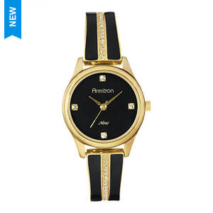 Armitron Swarovski Crystal Gold-Tone/Black Bangle Watch