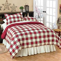 Buffalo Check Comforter Set - Burgundy