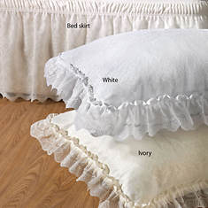 Wrap-Around Lace Bedskirt - White