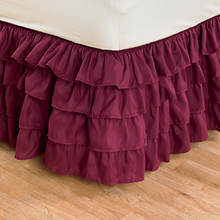 Ruffle Bed Skirt - Burgundy