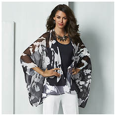 Sheer Printed Kimono