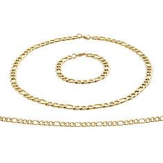 Stainless Steel Figaro Chain & Bracelet Set