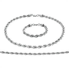Stainless Steel Rope Chain & Bracelet Set