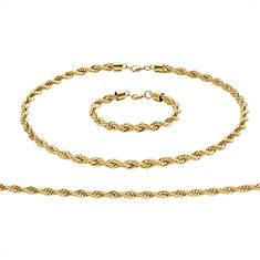 Stainless Steel Rope Chain & Bracelet Set