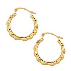 10K Bamboo Hoop Earrings