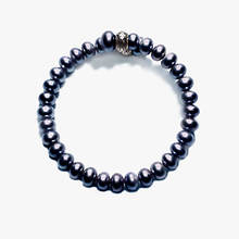 Button Pearl Spiral Bracelet - Peacock Black