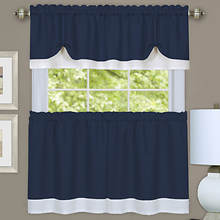 Darcy Tier and Valance Set - Navy