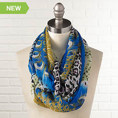 Animal Print Infinity Scarves - Peacock