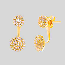Cubic Zirconia Double Circle Post Earring - Gold