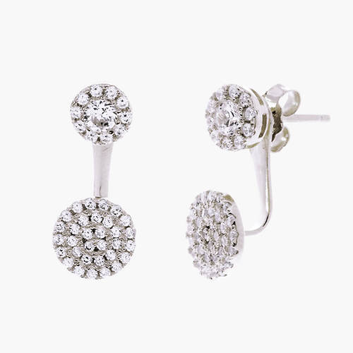 Cubic Zirconia Double Circle Post Earring
