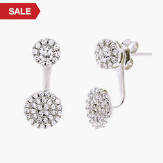 Cubic Zirconia Double Circle Post Earring - Silver