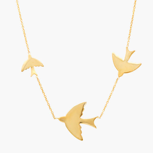 Three Bird Station Necklace