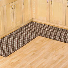 Diamond L Shaped Utility Rug - Brown