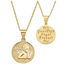 14K Gold Guardian Angel Necklace