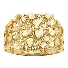 Men's Bling Nugget 10K Gold Ring