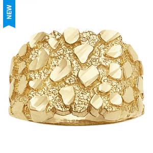 Men's Bling Nugget 10K Gold Ring