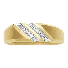 Men's Double Row Slanted Diamond Accent Ring