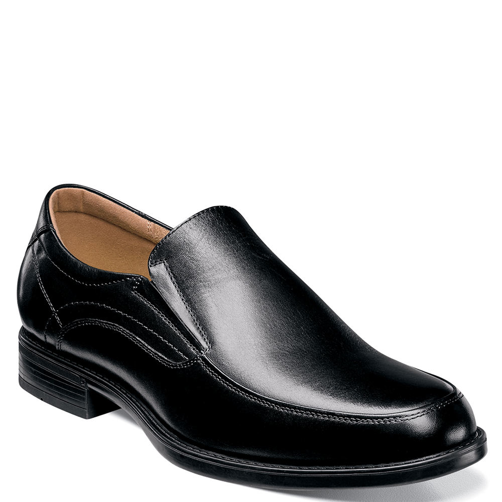 Men's 1950s Shoes Styles- Classics to Saddles to Rockabilly Florsheim Midtown Moc Toe Slip On Mens Black Slip On 10.5 E5 $114.95 AT vintagedancer.com