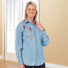 Embellished Denim Shirt Bird