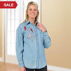 Embellished Denim Shirt Bird