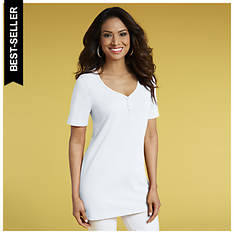 Button-Front V-Neck Tunic