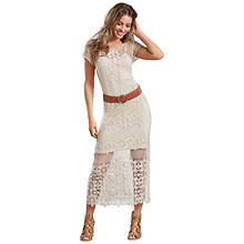 Belted Crochet Maxi