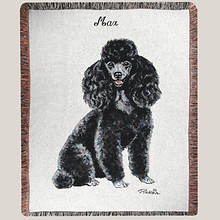 Personalized Dog Breed Tapestry Throw - Black Poodle