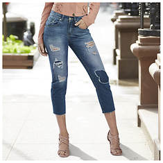 Destructed Raw Edge Crop Jean