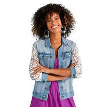 Lace-Sleeve Denim Jacket