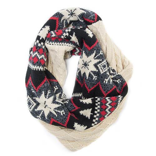 MUK LUKS Women's Snowflake Nordic Eternity Scarf