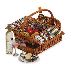 Hand-Woven Qillow Service for Two Wine Carrier and Picnic Basket
