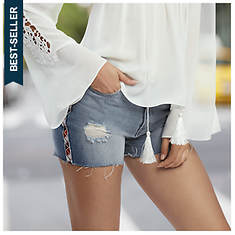 Ribbon Distressed Short