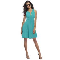 Textured Zip-Front Skater Dress