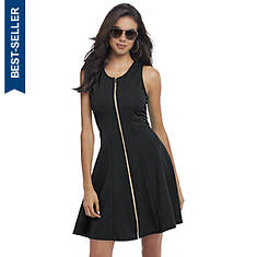 Textured Zip-Front Skater Dress
