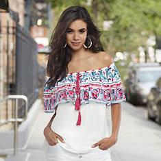 Bare Shoulder Embroidered Top