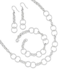 Sterling Silver Necklace, Bracelet, and Earring Set