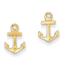 14K Anchor Post Earrings