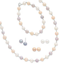 Sterling Silver Rodium White, Pink, Mauve Freshwater Cultured Pearl Necklace, Bracelet, and Earring Set